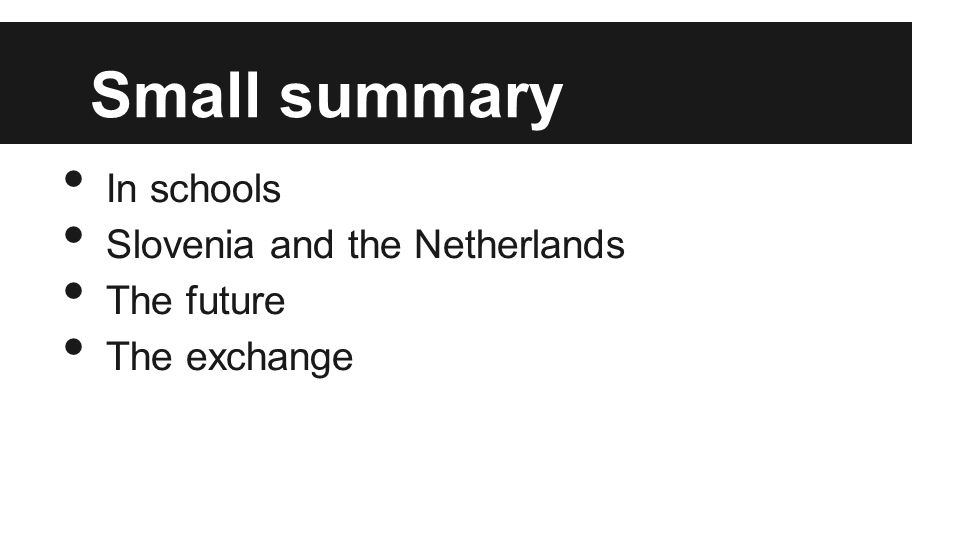 Small summary In schools Slovenia and the Netherlands The future The exchange