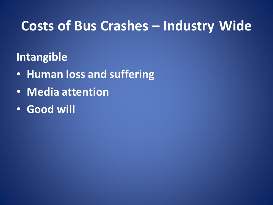 Costs of Bus Crashes – Industry Wide Intangible Human loss and suffering Media attention Good will