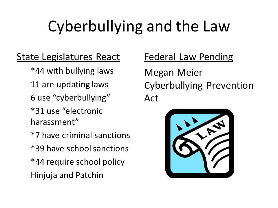 Cyberbullying and the Law State Legislatures React *44 with bullying laws 11 are updating laws 6 use cyberbullying *31 use electronic harassment *7 have criminal sanctions *39 have school sanctions *44 require school policy Hinjuja and Patchin Federal Law Pending Megan Meier Cyberbullying Prevention Act