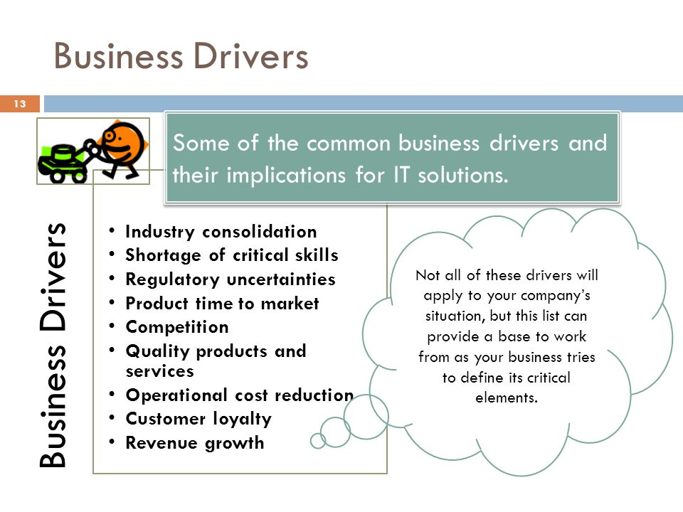 Business Drivers 13 Business Drivers Industry consolidation Shortage of critical skills Regulatory uncertainties Product time to market Competition Quality products and services Operational cost reduction Customer loyalty Revenue growth Some of the common business drivers and their implications for IT solutions.