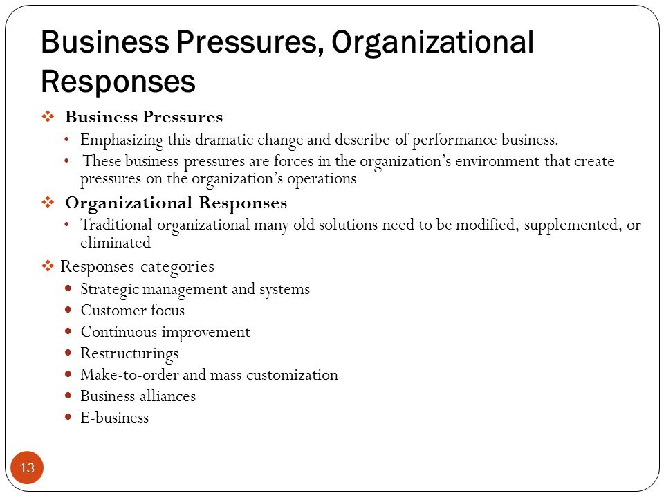 Business Pressures, Organizational Responses Business Pressures Emphasizing this dramatic change and describe of performance business. These business