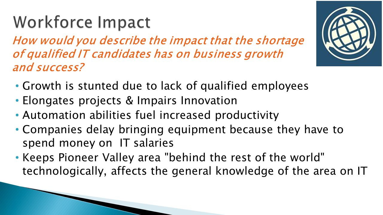 Growth is stunted due to lack of qualified employees Elongates projects & Impairs Innovation Automation abilities fuel increased productivity Companies delay bringing equipment because they have to spend money on IT salaries Keeps Pioneer Valley area behind the rest of the world technologically, affects the general knowledge of the area on IT How would you describe the impact that the shortage of qualified IT candidates has on business growth and success?