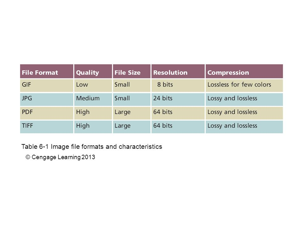 Table 6-1 Image file formats and characteristics © Cengage Learning 2013