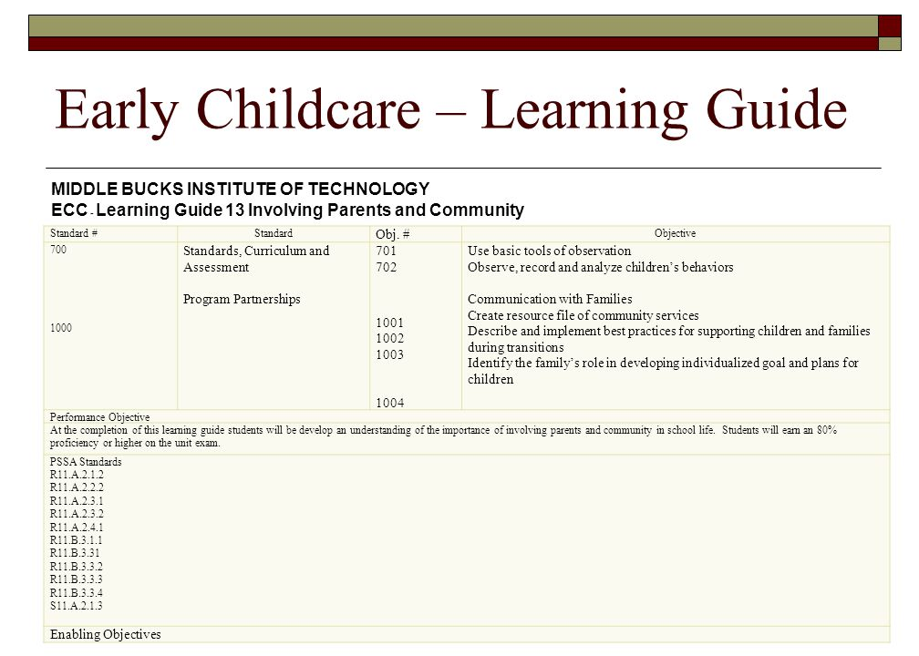 Early Childcare – Learning Guide Standard #Standard Obj. # Objective 700 1000 Standards, Curriculum and Assessment Program Partnerships 701 702 1001 1