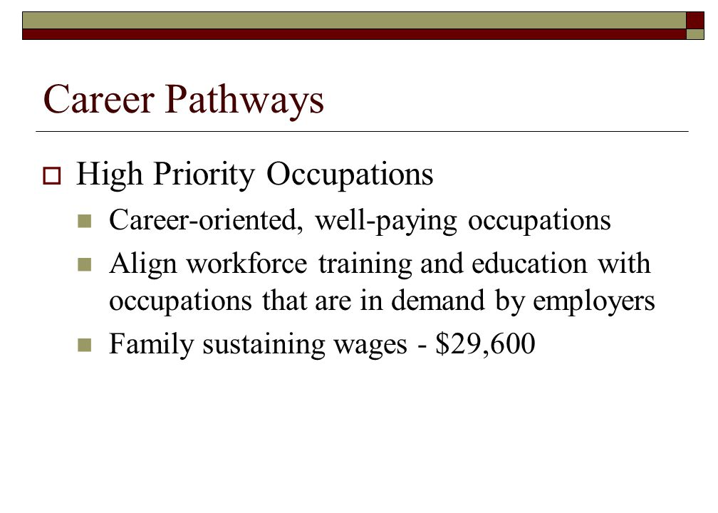 Career Pathways High Priority Occupations Career-oriented, well-paying occupations Align workforce training and education with occupations that are in