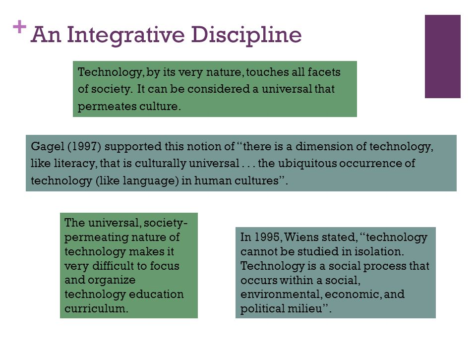 + An Integrative Discipline Technology, by its very nature, touches all facets of society.