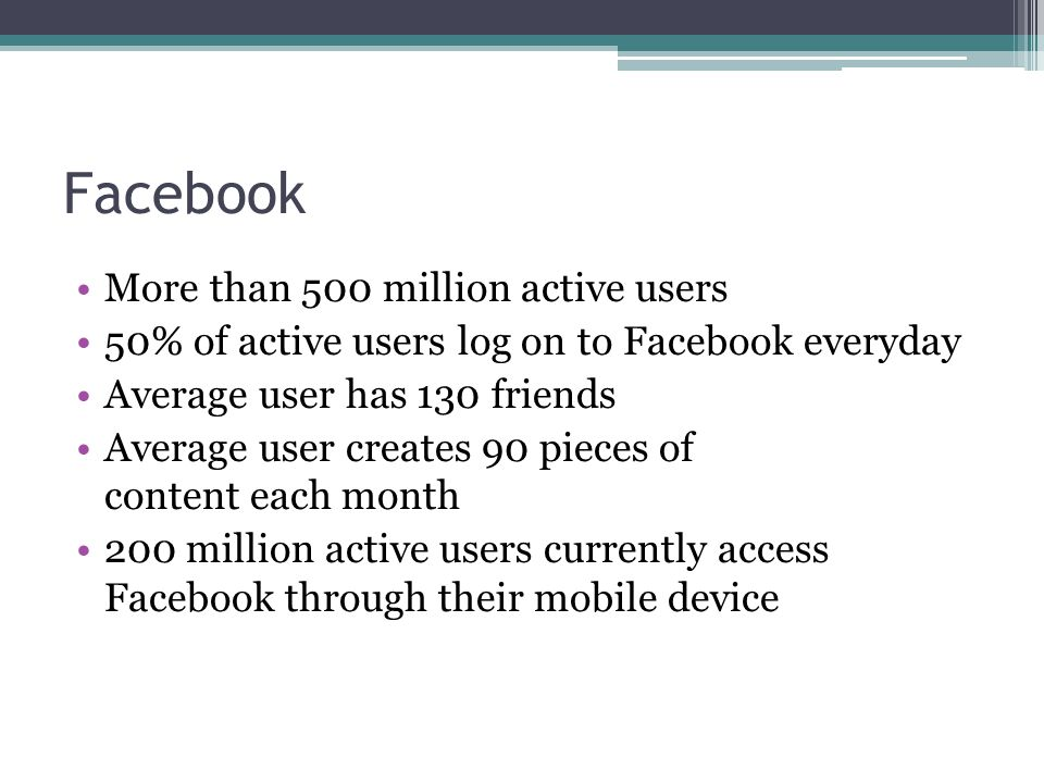 Facebook More than 500 million active users 50% of active users log on to Facebook everyday Average user has 130 friends Average user creates 90 pieces of content each month 200 million active users currently access Facebook through their mobile device
