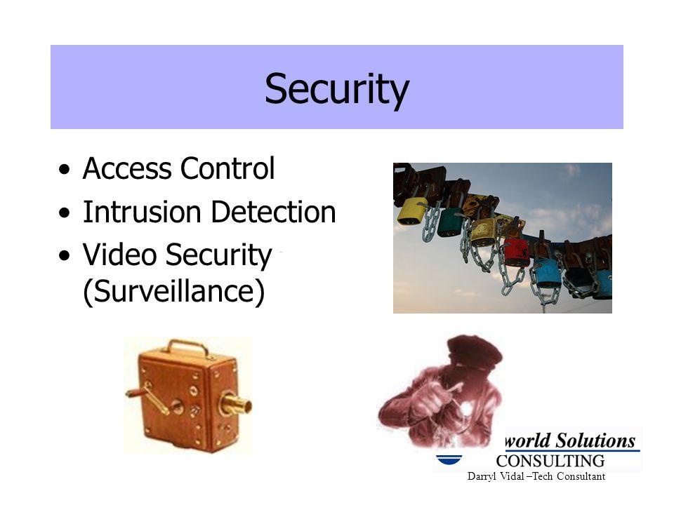 Darryl Vidal –Tech Consultant Security Access Control Intrusion Detection Video Security (Surveillance)