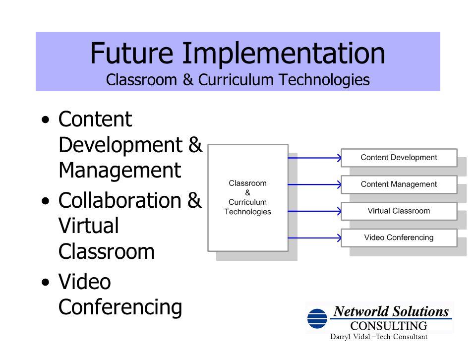 Darryl Vidal –Tech Consultant Future Implementation Classroom & Curriculum Technologies Content Development & Management Collaboration & Virtual Class
