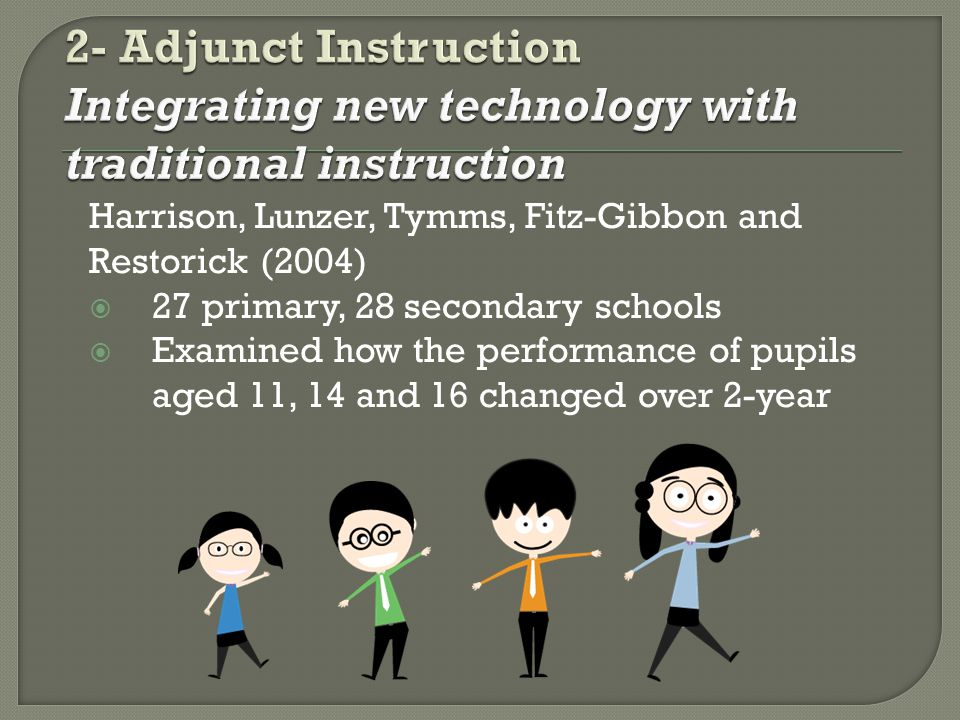 Harrison, Lunzer, Tymms, Fitz-Gibbon and Restorick (2004) 27 primary, 28 secondary schools Examined how the performance of pupils aged 11, 14 and 16 changed over 2-year