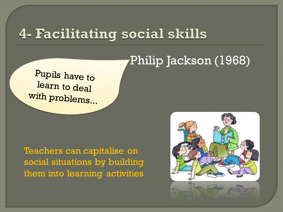 Philip Jackson (1968) Pupils have to learn to deal with problems...