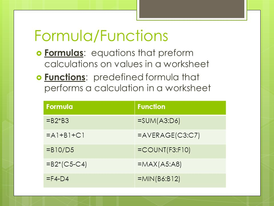 Formula/Functions Formulas : equations that preform calculations on values in a worksheet Functions : predefined formula that performs a calculation i