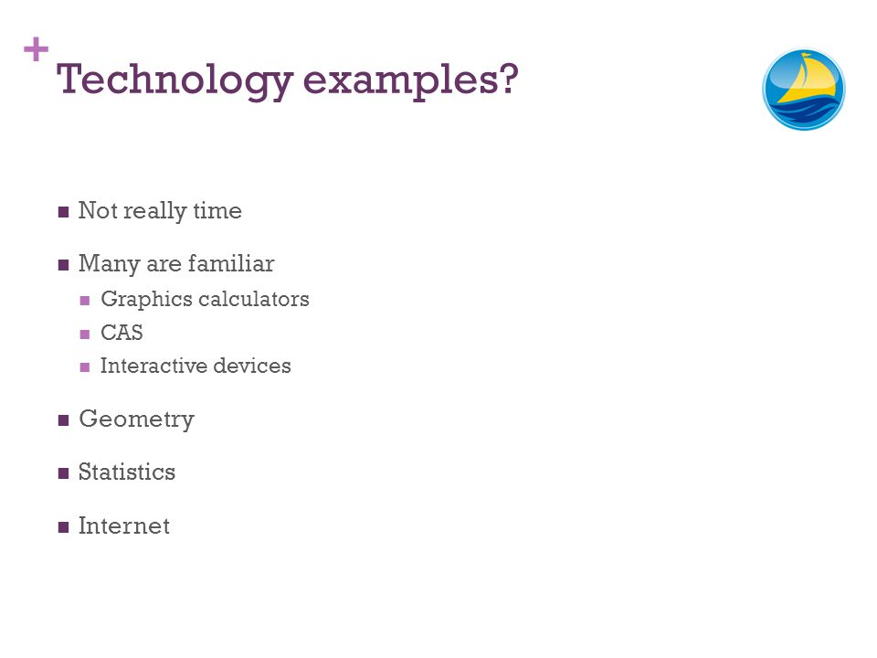 + Technology examples? Not really time Many are familiar Graphics calculators CAS Interactive devices Geometry Statistics Internet