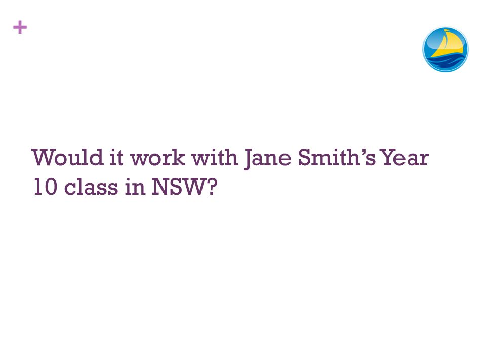 + Would it work with Jane Smiths Year 10 class in NSW?