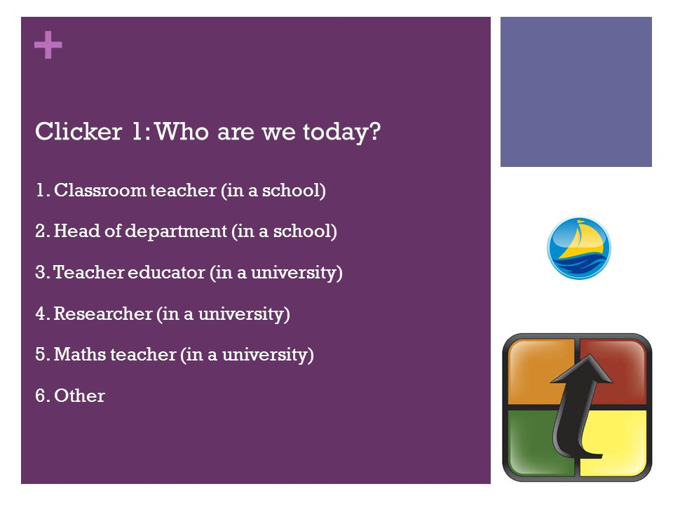 + Clicker 1: Who are we today. 1. Classroom teacher (in a school) 2.