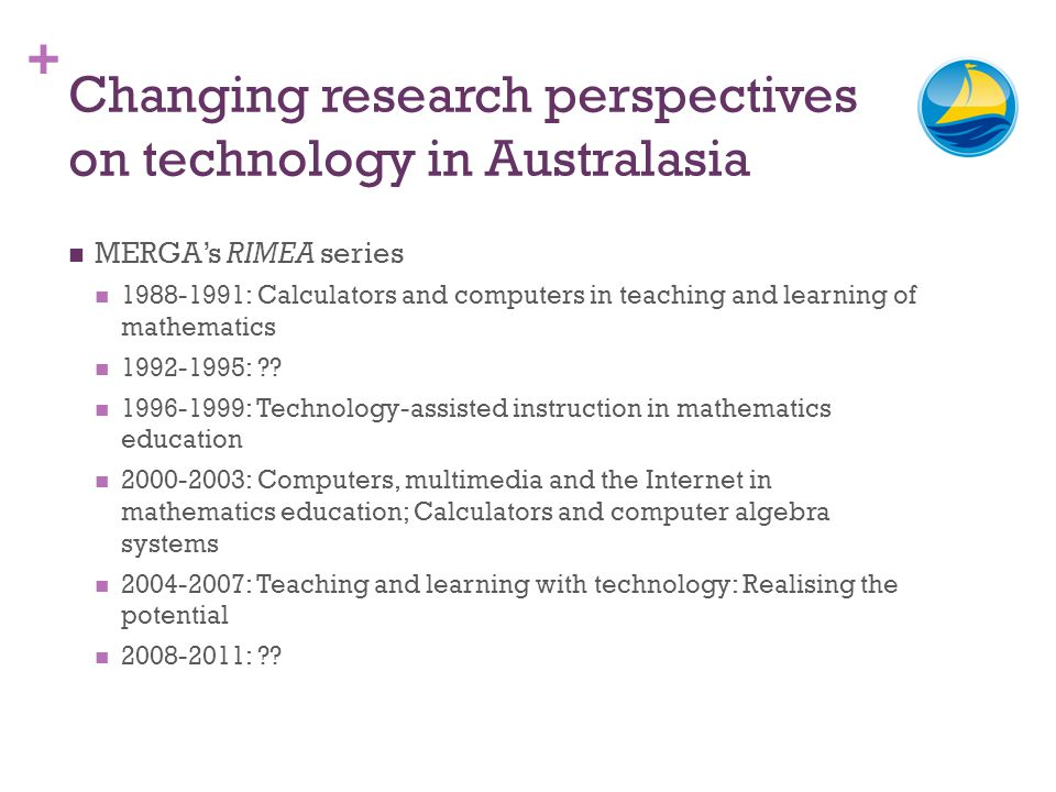 + Changing research perspectives on technology in Australasia MERGAs RIMEA series 1988-1991: Calculators and computers in teaching and learning of mat