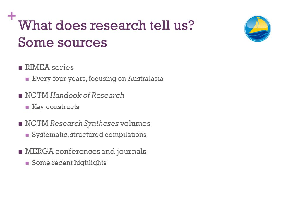 + What does research tell us? Some sources RIMEA series Every four years, focusing on Australasia NCTM Handook of Research Key constructs NCTM Researc