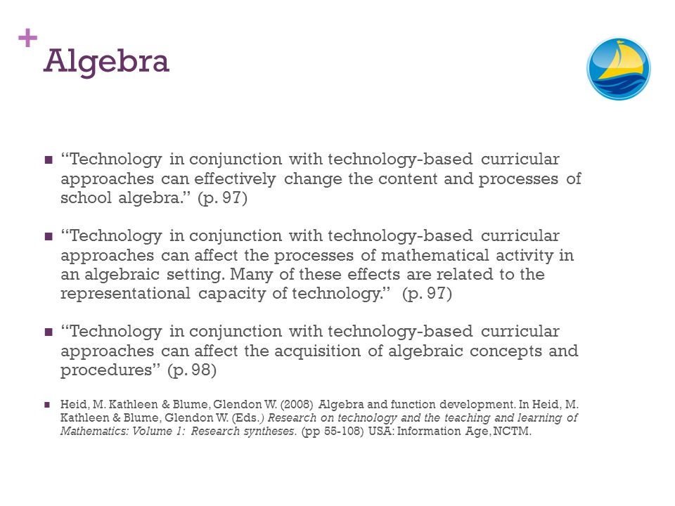 + Algebra Technology in conjunction with technology-based curricular approaches can effectively change the content and processes of school algebra. (p