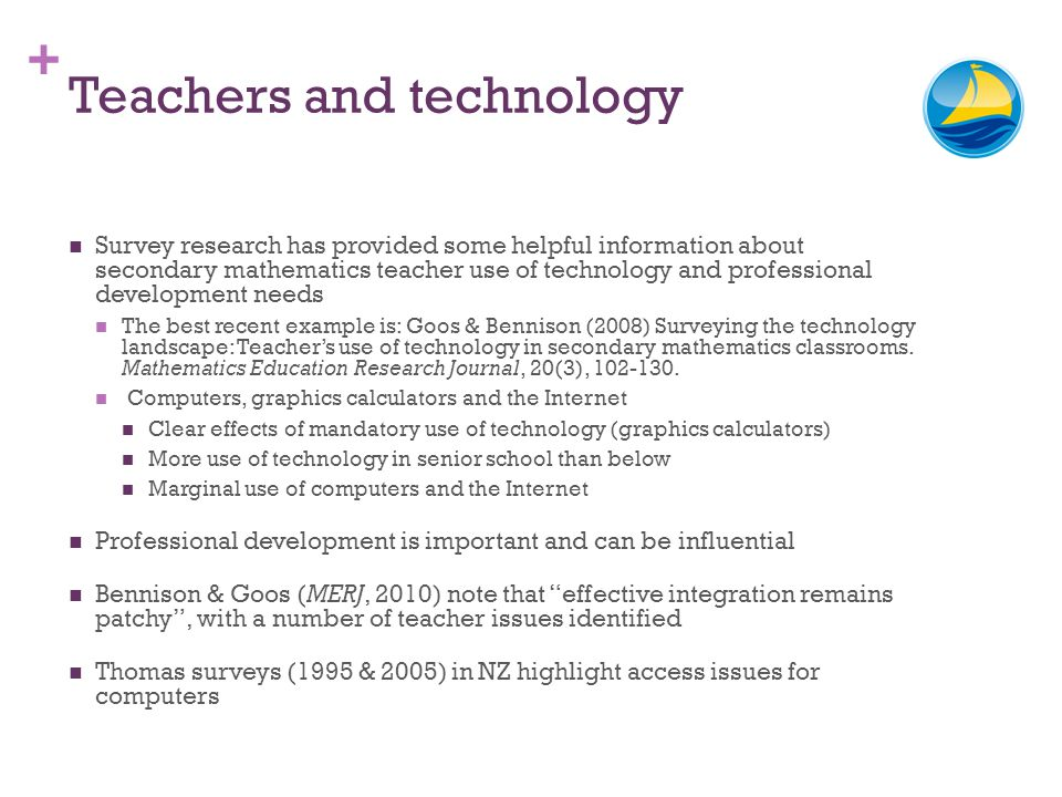 + Teachers and technology Survey research has provided some helpful information about secondary mathematics teacher use of technology and professional