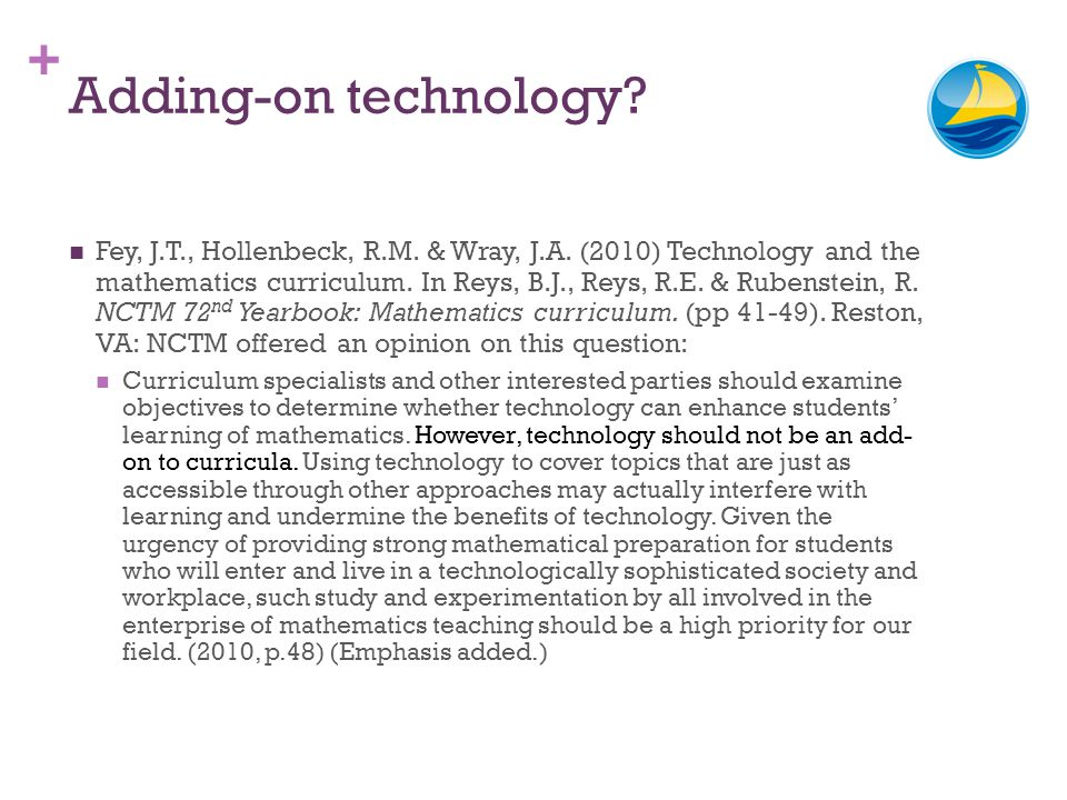 + Adding-on technology? Fey, J.T., Hollenbeck, R.M. & Wray, J.A. (2010) Technology and the mathematics curriculum. In Reys, B.J., Reys, R.E. & Rubenst