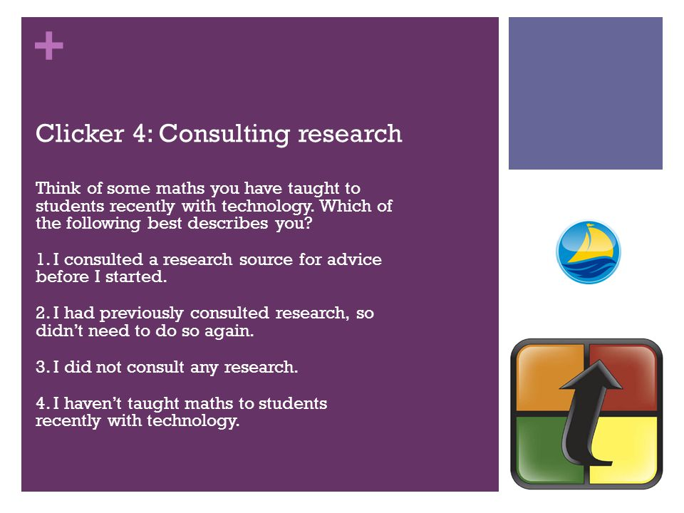 + Clicker 4: Consulting research Think of some maths you have taught to students recently with technology. Which of the following best describes you?