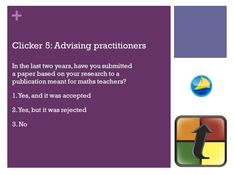 + Clicker 5: Advising practitioners In the last two years, have you submitted a paper based on your research to a publication meant for maths teachers.