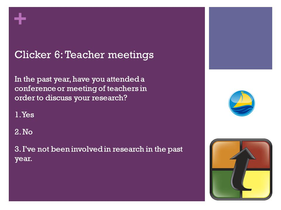 + Clicker 6: Teacher meetings In the past year, have you attended a conference or meeting of teachers in order to discuss your research.