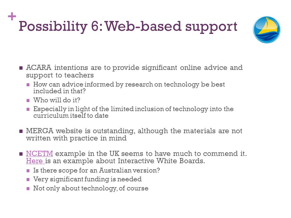 + Possibility 6: Web-based support ACARA intentions are to provide significant online advice and support to teachers How can advice informed by resear