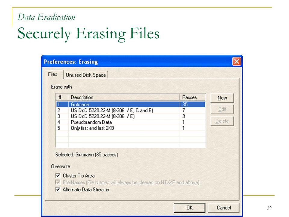 39 Data Eradication Securely Erasing Files