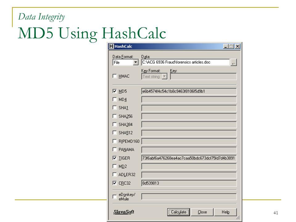 41 Data Integrity MD5 Using HashCalc