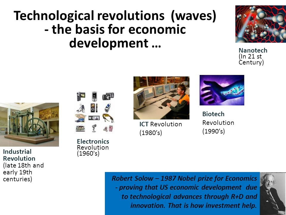 Technological revolutions (waves) - the basis for economic development … Industrial Revolution (late 18th and early 19th centuries) Electronics Revolution (1960 s) ICT Revolution (1980s) Biotech Revolution (1990s) Nanotech (In 21 st Century) Robert Solow – 1987 Nobel prize for Economics - proving that US economic development due to technological advances through R+D and innovation.