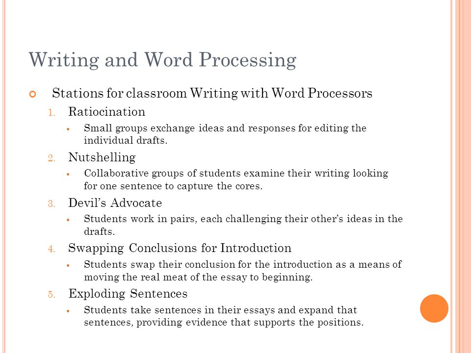 Writing and Word Processing Stations for classroom Writing with Word Processors 1.