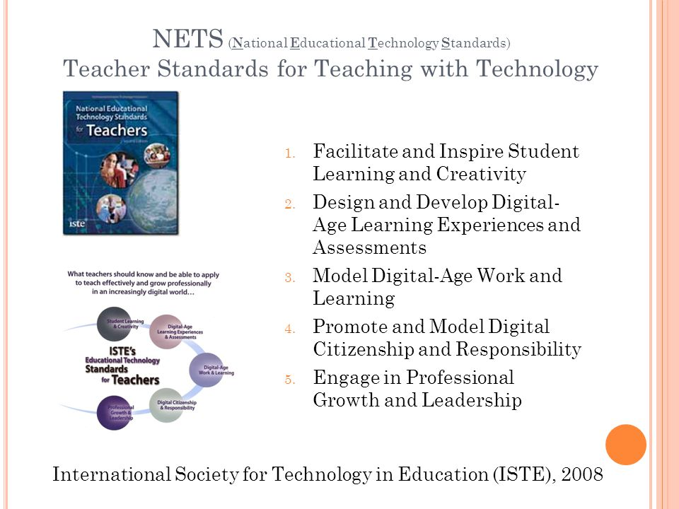 NETS ( N ational E ducational T echnology S tandards) Teacher Standards for Teaching with Technology 1.
