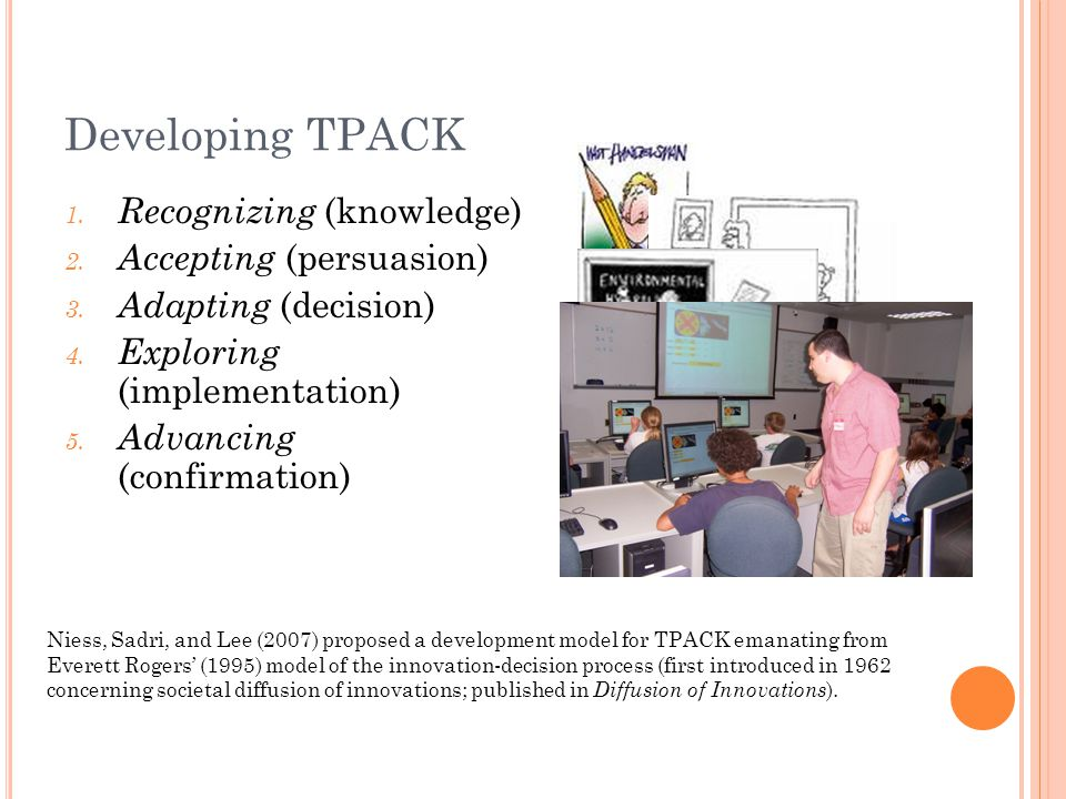 Developing TPACK 1. Recognizing (knowledge) 2. Accepting (persuasion) 3.