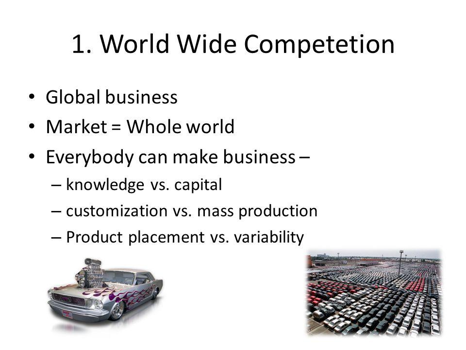 1. World Wide Competetion Global business Market = Whole world Everybody can make business – – knowledge vs. capital – customization vs. mass producti