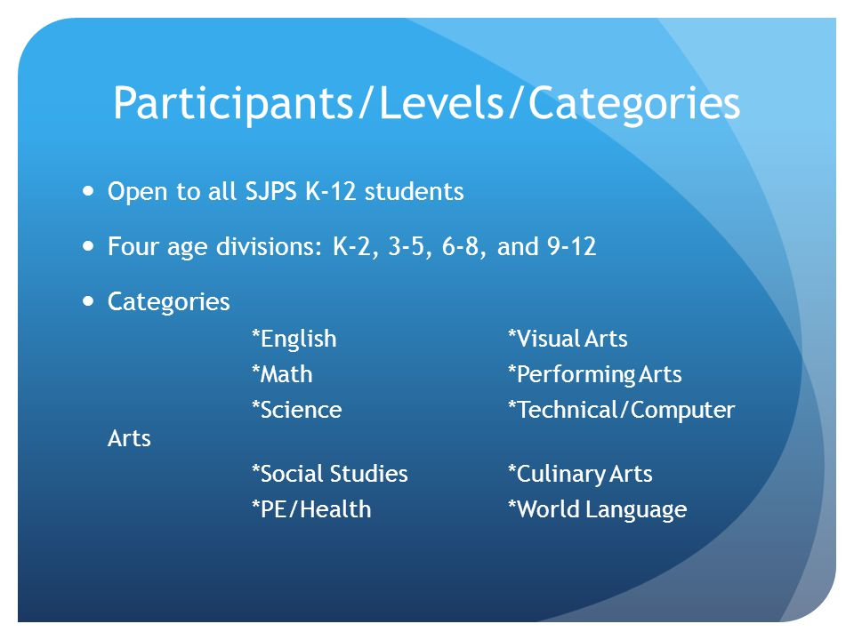 Participants/Levels/Categories Open to all SJPS K-12 students Four age divisions: K-2, 3-5, 6-8, and 9-12 Categories *English*Visual Arts *Math*Performing Arts *Science*Technical/Computer Arts *Social Studies*Culinary Arts *PE/Health*World Language