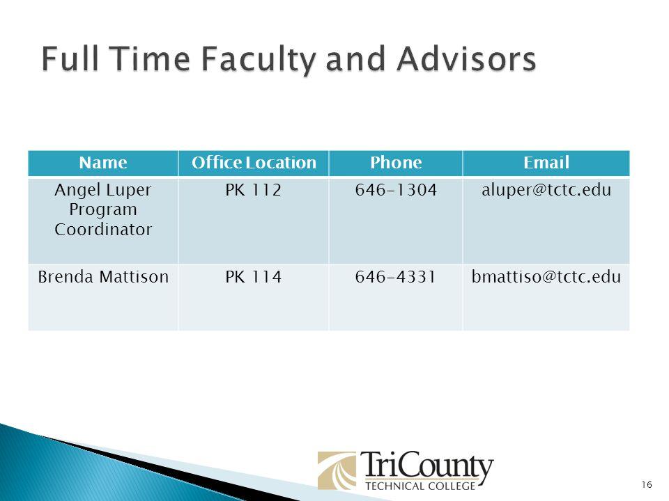 NameOffice LocationPhoneEmail Angel Luper Program Coordinator PK 112646-1304aluper@tctc.edu Brenda MattisonPK 114646-4331bmattiso@tctc.edu 16