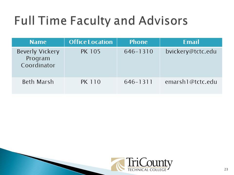 23 NameOffice LocationPhoneEmail Beverly Vickery Program Coordinator PK 105646-1310bvickery@tctc.edu Beth MarshPK 110646-1311emarsh1@tctc.edu