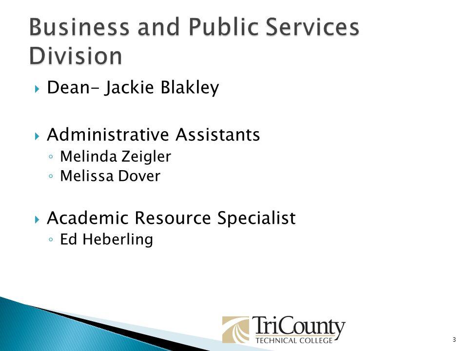 Dean- Jackie Blakley Administrative Assistants Melinda Zeigler Melissa Dover Academic Resource Specialist Ed Heberling 3