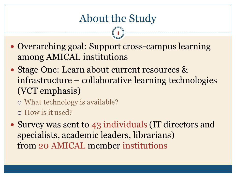 Respondents 16 completed surveys representing 13 (65%) AMICAL member institutions Respondent roles (positions): Academic IT Management (n=10) IT specialist (n=4) Head Librarian (n=1) Professor/Academic Administration (n=1) 2