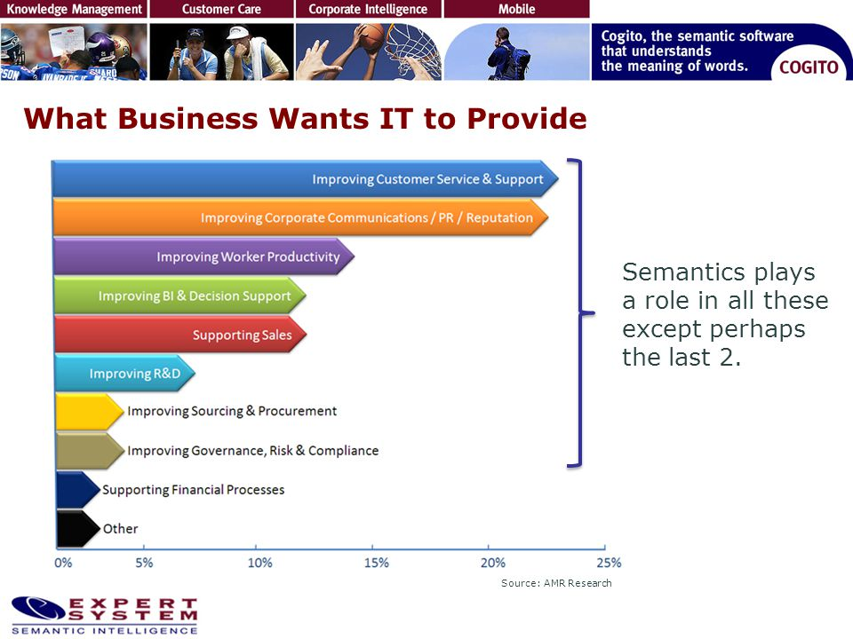 What Business Wants IT to Provide Semantics plays a role in all these except perhaps the last 2. Source: AMR Research