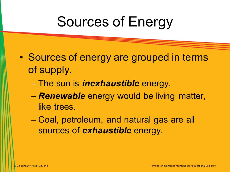Permission granted to reproduce for educational use only. © Goodheart-Willcox Co., Inc. Sources of Energy Sources of energy are grouped in terms of su