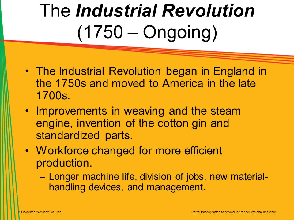 Permission granted to reproduce for educational use only. © Goodheart-Willcox Co., Inc. The Industrial Revolution (1750 – Ongoing) The Industrial Revo