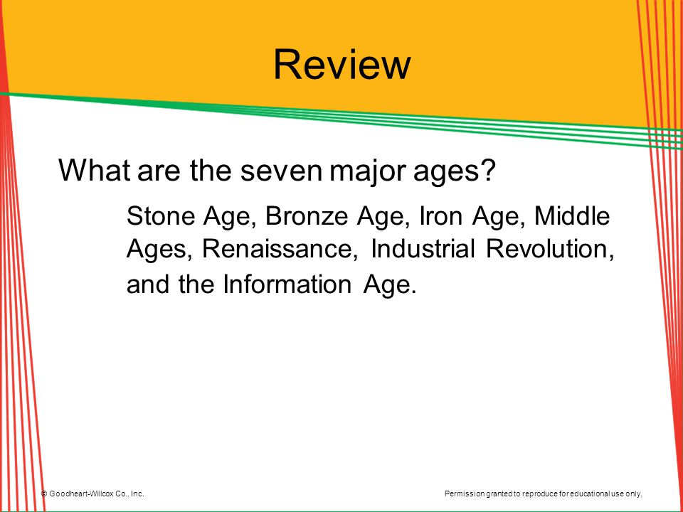 Permission granted to reproduce for educational use only. © Goodheart-Willcox Co., Inc. Review What are the seven major ages? Stone Age, Bronze Age, I