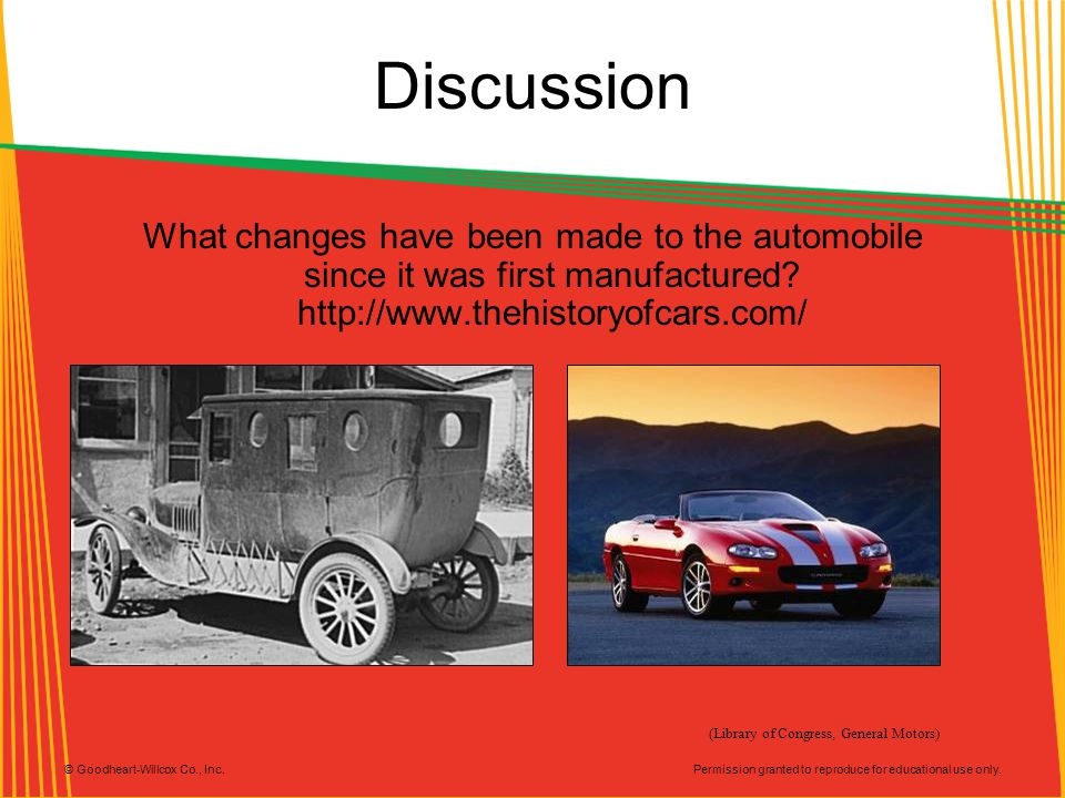 Permission granted to reproduce for educational use only. © Goodheart-Willcox Co., Inc. Discussion What changes have been made to the automobile since