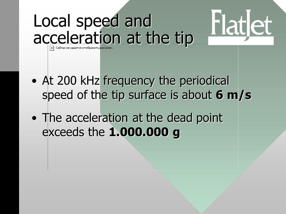 Local speed and acceleration at the tip At 200 kHz frequency the periodical speed of the tip surface is about 6 m/sAt 200 kHz frequency the periodical speed of the tip surface is about 6 m/s The acceleration at the dead point exceeds the 1.000.000 gThe acceleration at the dead point exceeds the 1.000.000 g