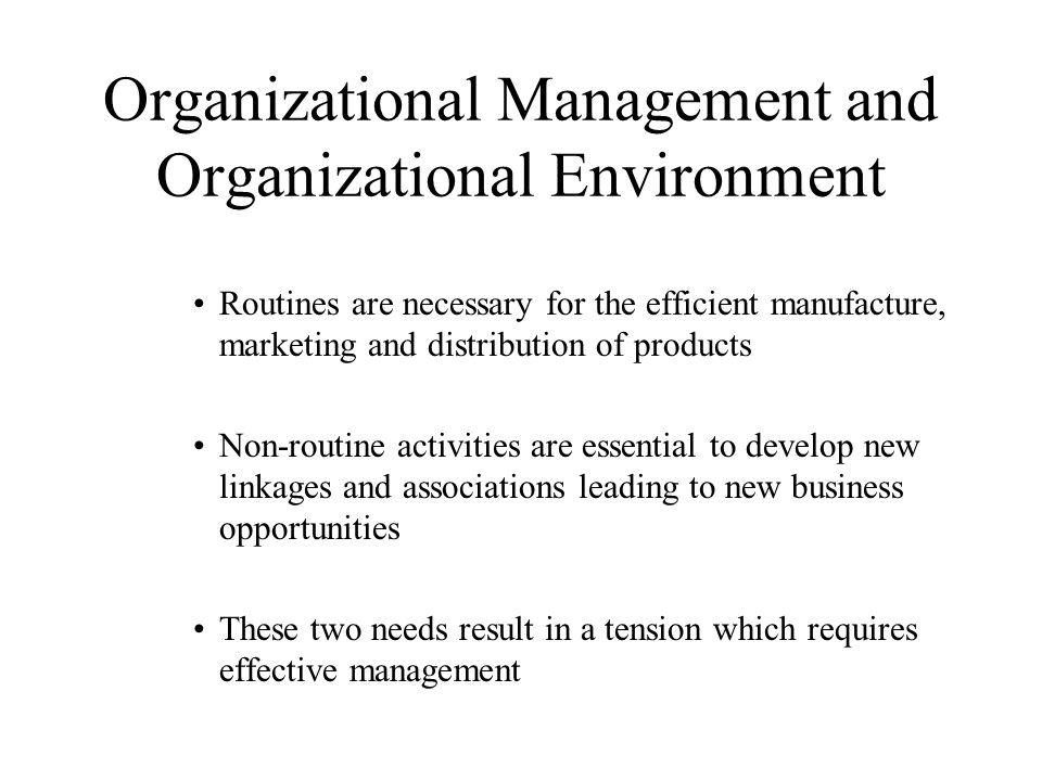 Organizational Management and Organizational Environment Routines are necessary for the efficient manufacture, marketing and distribution of products