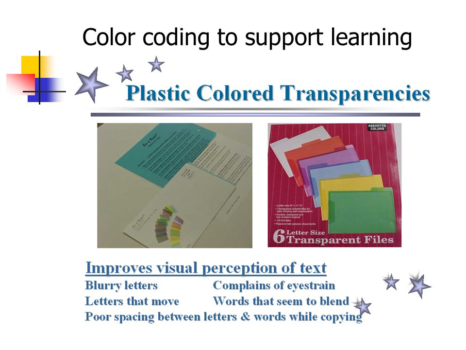 Color coding to support learning