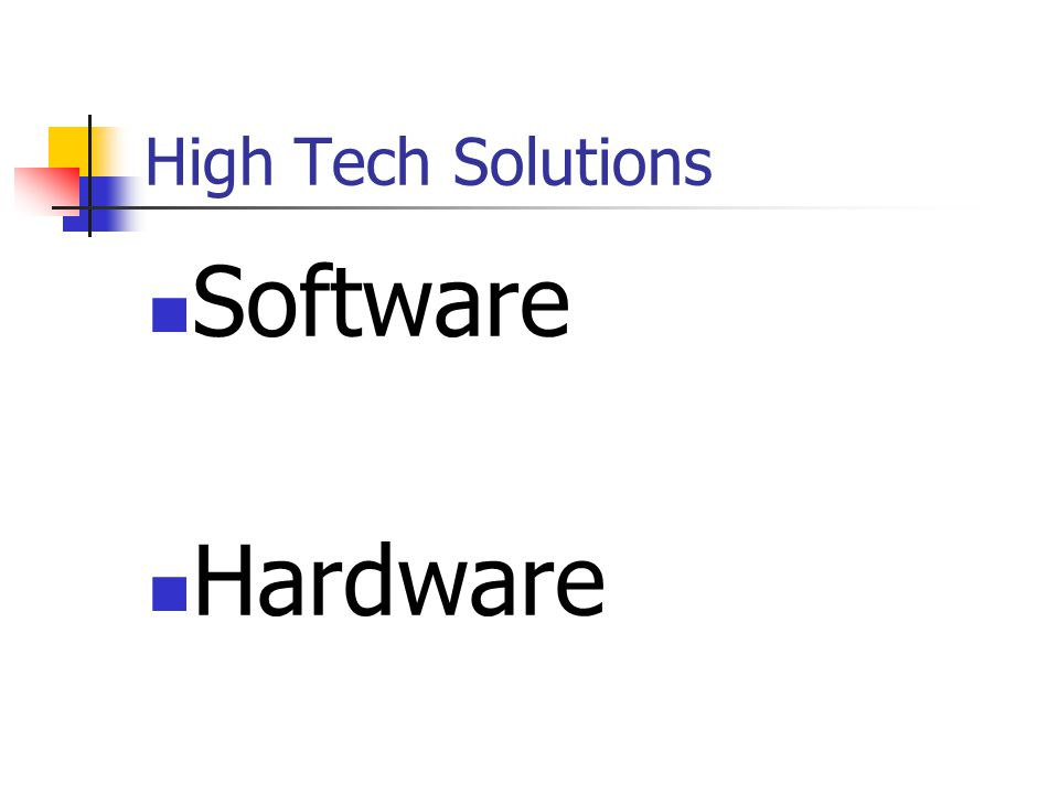 High Tech Solutions Software Hardware