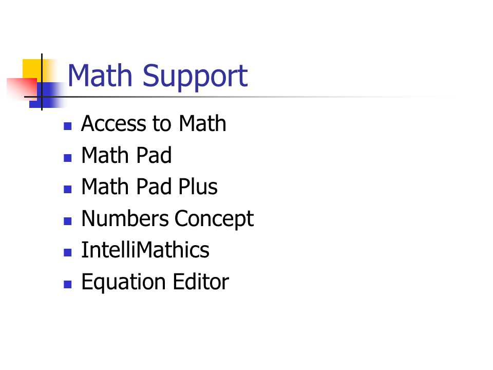 Math Support Access to Math Math Pad Math Pad Plus Numbers Concept IntelliMathics Equation Editor